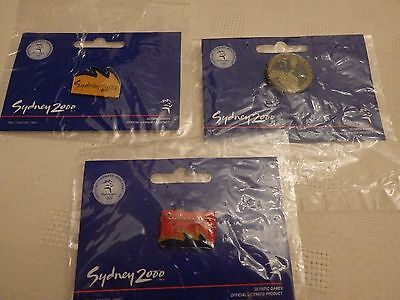 2000 Olympics - Sydney - Bulk Lot Of 3 Pin/badges - With Backing Cards - Ex Cond