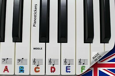 Keyboard or Piano Stickers full set for a 88 keyboard For KIDS fun shape letter