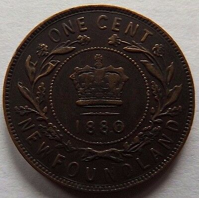 1880 Newfoundland One Cent! Vf! Only 400,000 Minted! Rare!