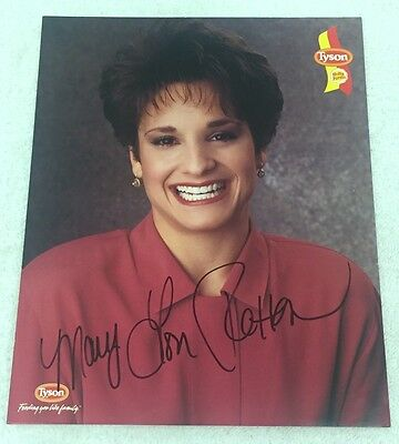 Mary Lou Retton Signed Tyson Chicken 8x10 Photo Olympic Champion