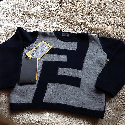 Fendi Baby Boys Wool/Cashmere Mix Jumper Size 24 Mnth 100./. Authentic