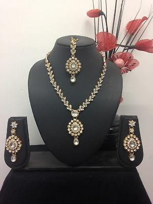 New Necklace Earring Set Head Piece Jewellery Indian Bridal Bollywood Set - Q2