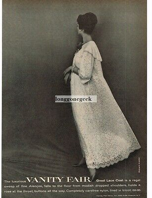 1959 VANITY FAIR Great Lace Coat Lingerie Night Gown VTG PRINT AD