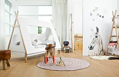 Kids Wooden Teepee Cabin Bed White Children's Bedroom Furniture