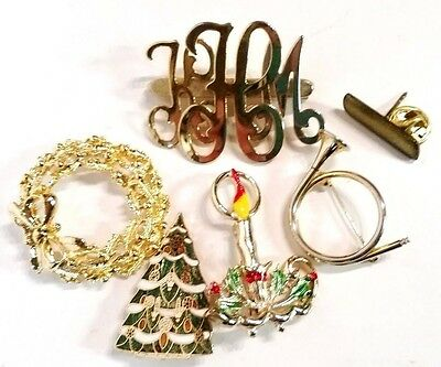 Vintage Christmas pin brooch jewelry lot tree, wreath, horn, candle