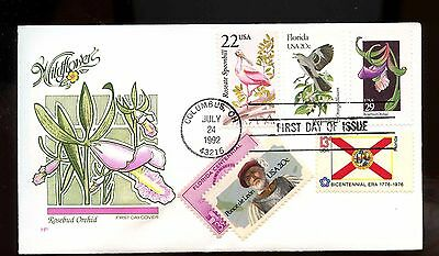 US 1992 Super Franked FDC COMBO Wildflower: Rosebud Orchid, Florida