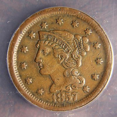 1857 Braided Hair Large Cent, N-1, Large Date, XF-45