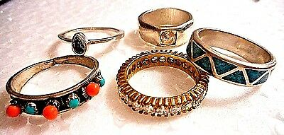 Lot Of 5 Vintage Sterling Silver Rings, All With Stones&very Unusual