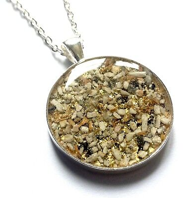 cremation jewellery for ashes memorial 30mm round pendant with chain