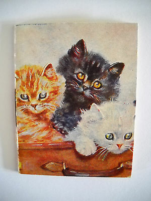 3 CATS IN SUITCASE 1956 Vintage 8 page SMALL used pocket calendar booklet CHROMO