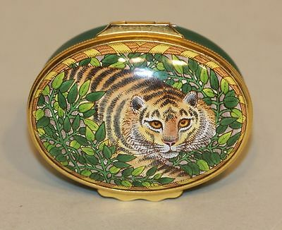 Halcyon Days Enamel Oval Trinket Box Bengal Tiger Crouching in the Green Leaves