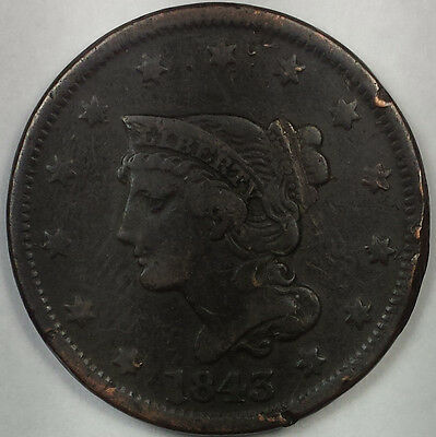 1843 Braided Hair Liberty Head Large Cent - Nice Copper Coin