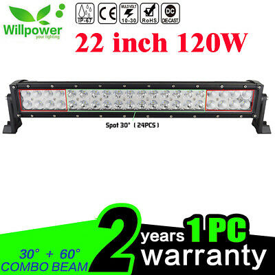 22inch 120W Led Light Bar Spot Flood Work Driving FOR JEEP UTE Bar Offroad 4WD
