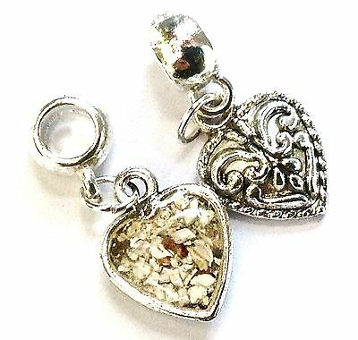 cremation jewellery for ashes memorial 10mm heart pendant or bracelet charm