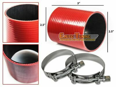 "2.5"" Silicone Hose/Pipe Straight Coupler RED +T-Bolt Clamp For Jeep/Land Rover"
