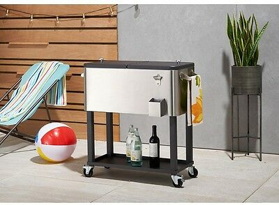 Stainless Steel Ice Chest Cooler Cart Shelf 80 Qt. Standing Mobile Wheels New
