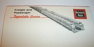 1960's BURLINGTON ROUTE C.B.&Q.- C.&S. - FW&D RAILROAD NOTEPAD FORT WORTH DENVER