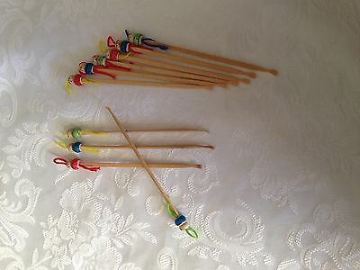 12 x Bamboo/ Wooden Ear Wax Cleaner Pick Curette Stick Tool Spoons