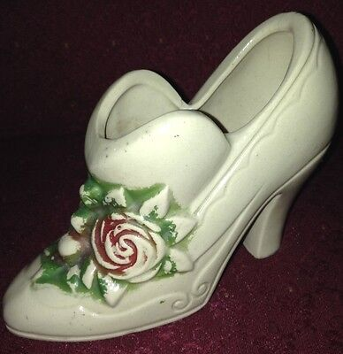 Vintage Porcelain Sculpted Shoe Boot with Red And Green Floral Design