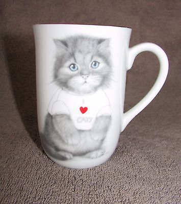 I LOVE CATS Gray Fuzzy Kitten Collectible Mug Cup Otagiri Jonah's Workshop
