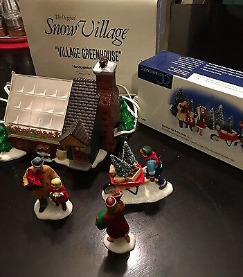 "SNOW VILLAGE DEPT. 56 ""VILLAGE GREENHOUSE"" RETIRED Visit To The Florist Lot"
