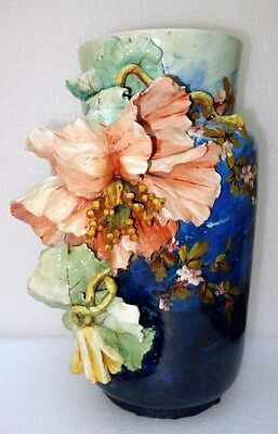 Large French Barbotine Majolica vase  with huge Flower