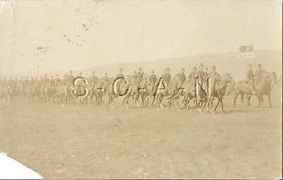 Pre WWI Org Army RPPC- Cavalry- Mounted Troopers- Horse- Guide On- Flag- PM 1908