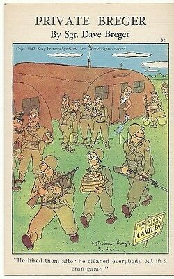 WWII Original 1940s PC- Private Breger- Craps Game Winner- Body Guards- Comic