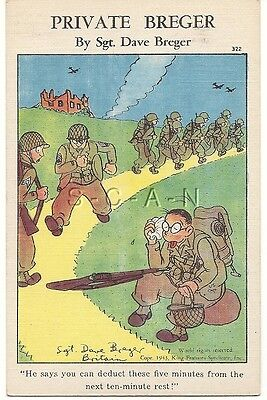 WWII Original 40s PC- Private Breger- Road March- Deduct from Rest Break- Comic