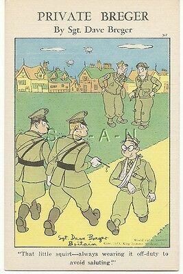 WWII Original 1940s PC- Private Breger- Broken Arm- No Saluting Trick- Comic