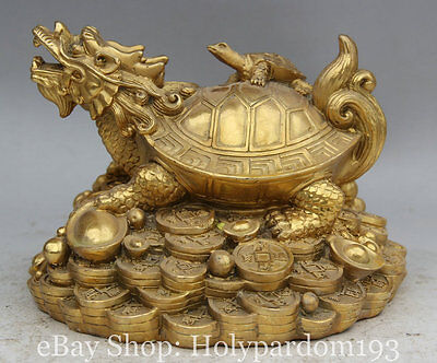 """8"""" Chinese Brass Wealth Dragon Tortoise Turtle Son Coin Yuan Bao Money Statue S"""