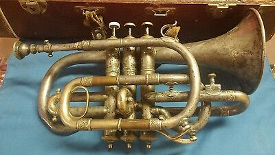 Antique Lyon & Healy  Silver and brass Cornet c. 1890 BeauIdeal Chicago
