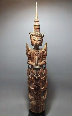Antique Wood-Carved Sculpture Deity Guardian Figure Rattanakosin Period 19Th C