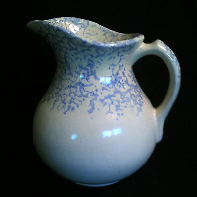 Antique Stoneware Spongeware Blue and White Water Pitcher Blue Sponge