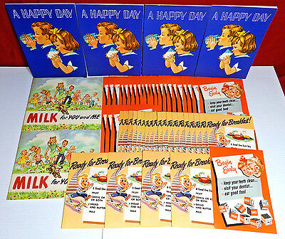 Lot x55 National Dairy Council NOS Paper Ads & Books 1953 1952 Happy Day Milk