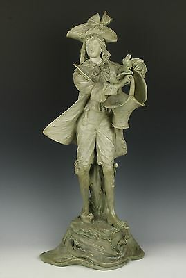 "Antique large 19"" Amphora Turn Teplitz RSTK terracotta Figurine ""Man with Doves"""