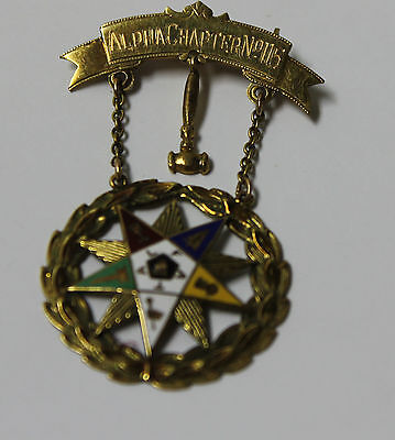 Eastern Star OES 10K Yellow Gold Masonic Brooch Alpha Chapter No.115 1935-1936