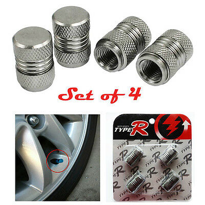 4x GREY Car Motorbike Bike Aluminium Tyre Wheel Stem Air Valve Dust Caps Cover C
