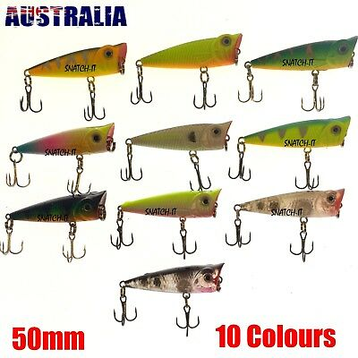 10X Fishing Lures Hardbody 50Mm Whiting Popper Bream Flathead Poppers Topwater