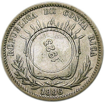 COSTA RICA 50 Centimos 1886(1923) GW VF Counterstamped on 25 centavos
