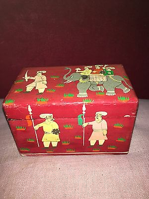 Vintage Kashmir or Middle Eastern Painted Box With Elephant And Soldiers Scenes