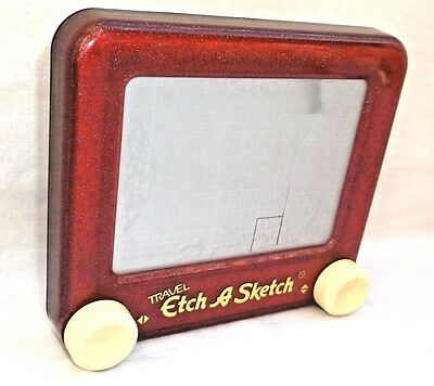 """Red Sparkle 6"""" Travel Etch A Sketch Ohio Art VGUC Loose"""