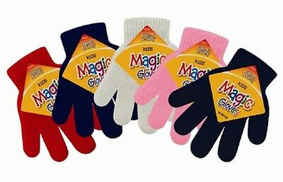 2 x Childrens Magic Gloves For Girls Boys Kids Stretchy Knitted Winter Warm