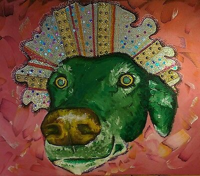 Original Abstract Painting Modern Art Funky Fun Psychedelic Dog Animal Signed
