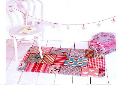 Flair Rugs Kiddy Print Plush Patchwork Childrens Play Mat Pink/Blue 130 x 180 cm