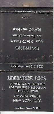 Liberatore Bros. 212 West 79th St. New York City NYC NY Matchcover