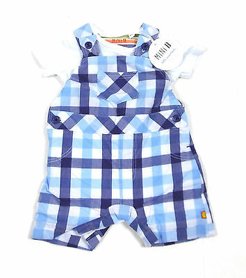 BHS Baby Boys 2 Piece Set Bodysuit Blue Check Dungarees Bib Short NB - 12 Months