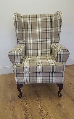 High Backed Wing Chair, In Luxury Tartan Fabric.
