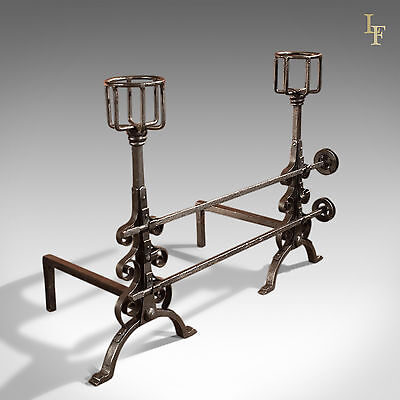 Antique Firedogs, Tall, Twin Adjustable Wheel Spits, English, Victorian, c.1900