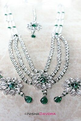 Green Rhodium Silverr Layered Choice of Necklace Earrings Tikka Adjustable